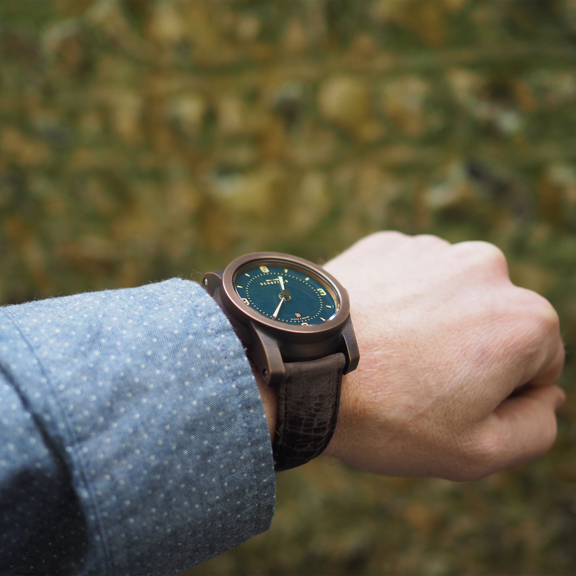 Bronze Beater with Cracked brown Tigerloaf watch strap