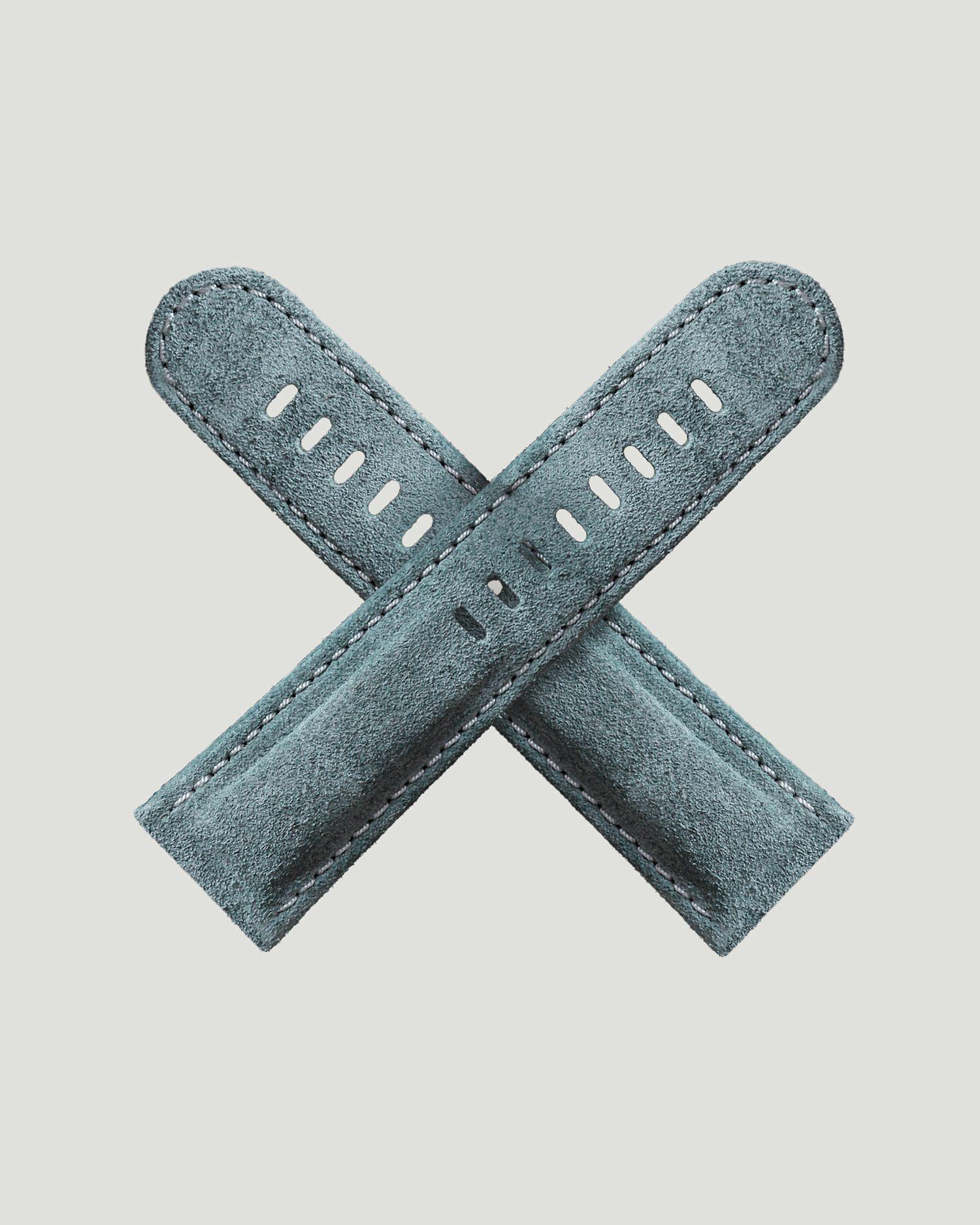 Blue suede watch strap