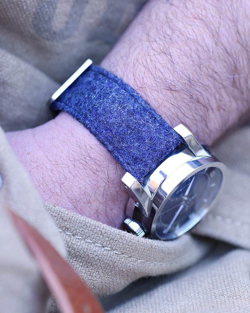 Blue tweed watch strap
