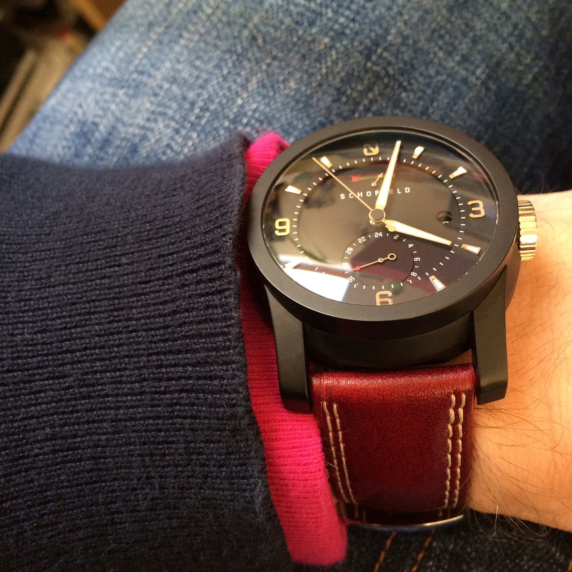 Red cricket ball leather strap