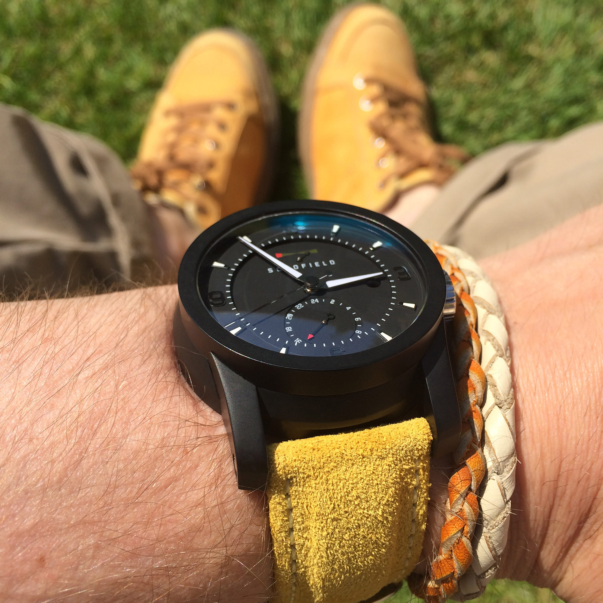 Yellow suede strap