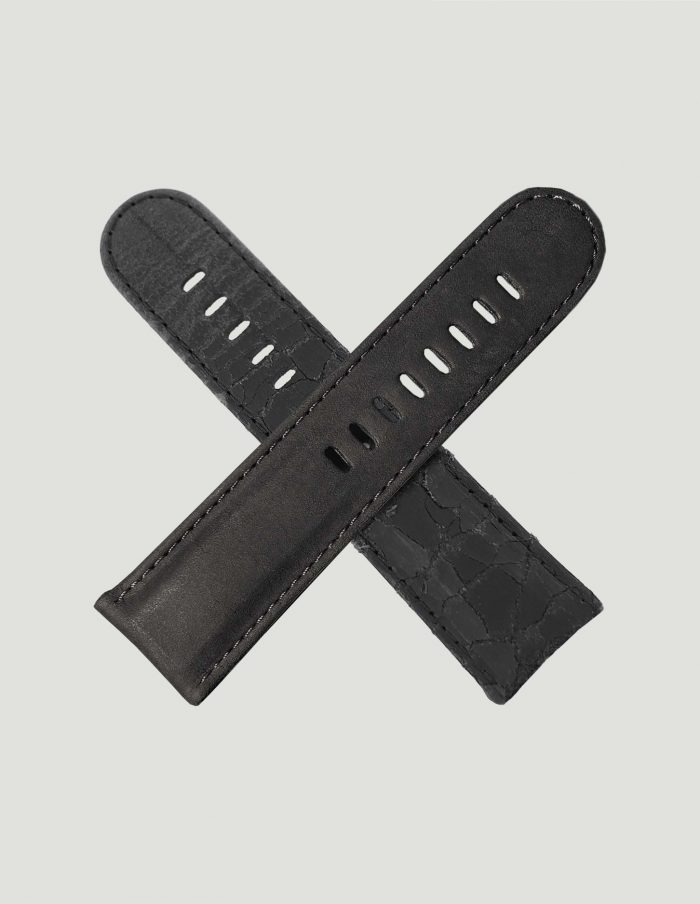 Black cracked watch strap