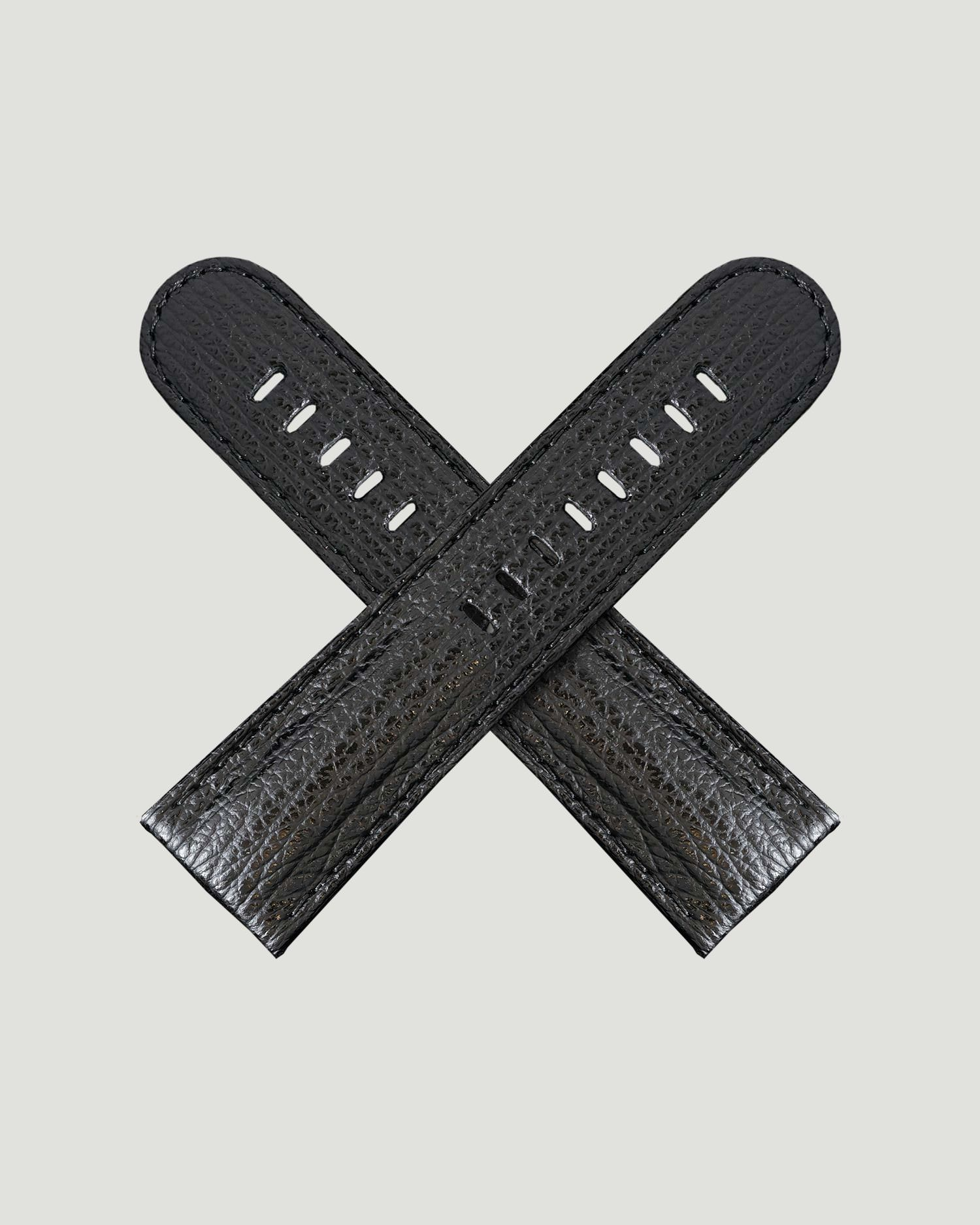 Black shark skin watch strap