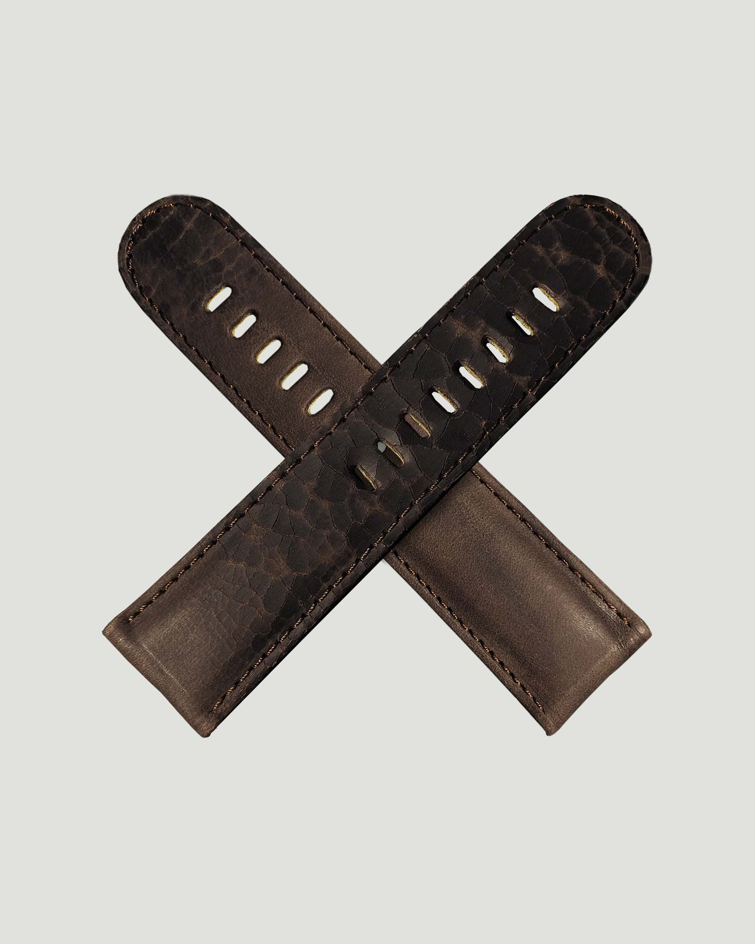 Brown cracked watch strap