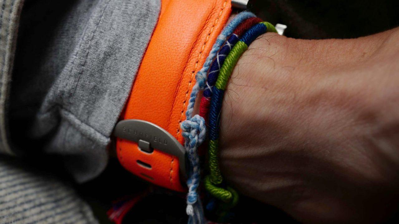 bright orange leather watch strap