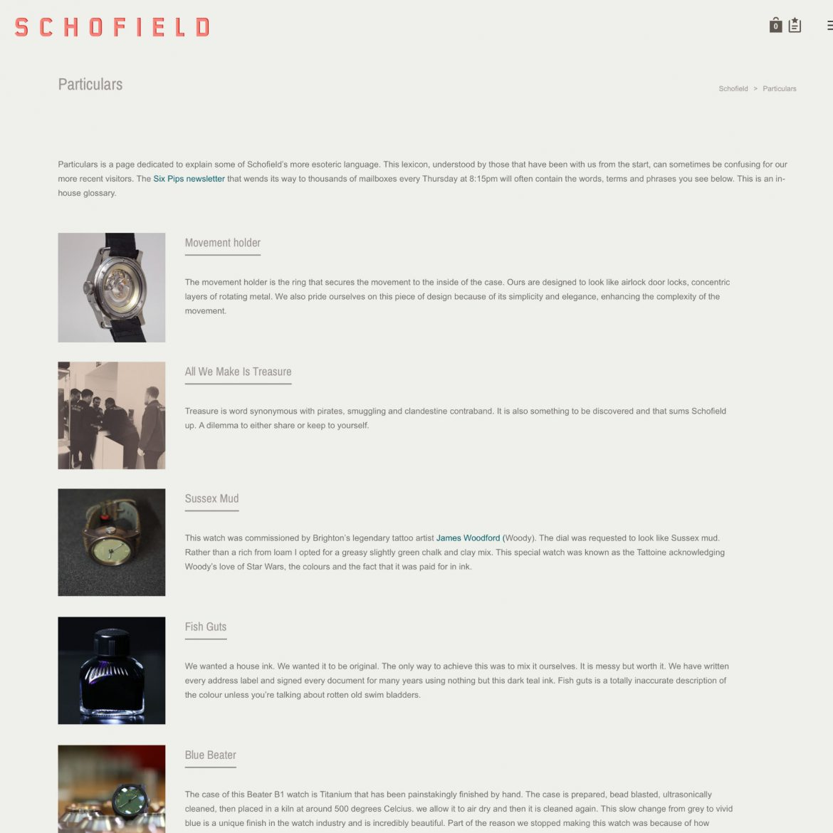 Particulars page