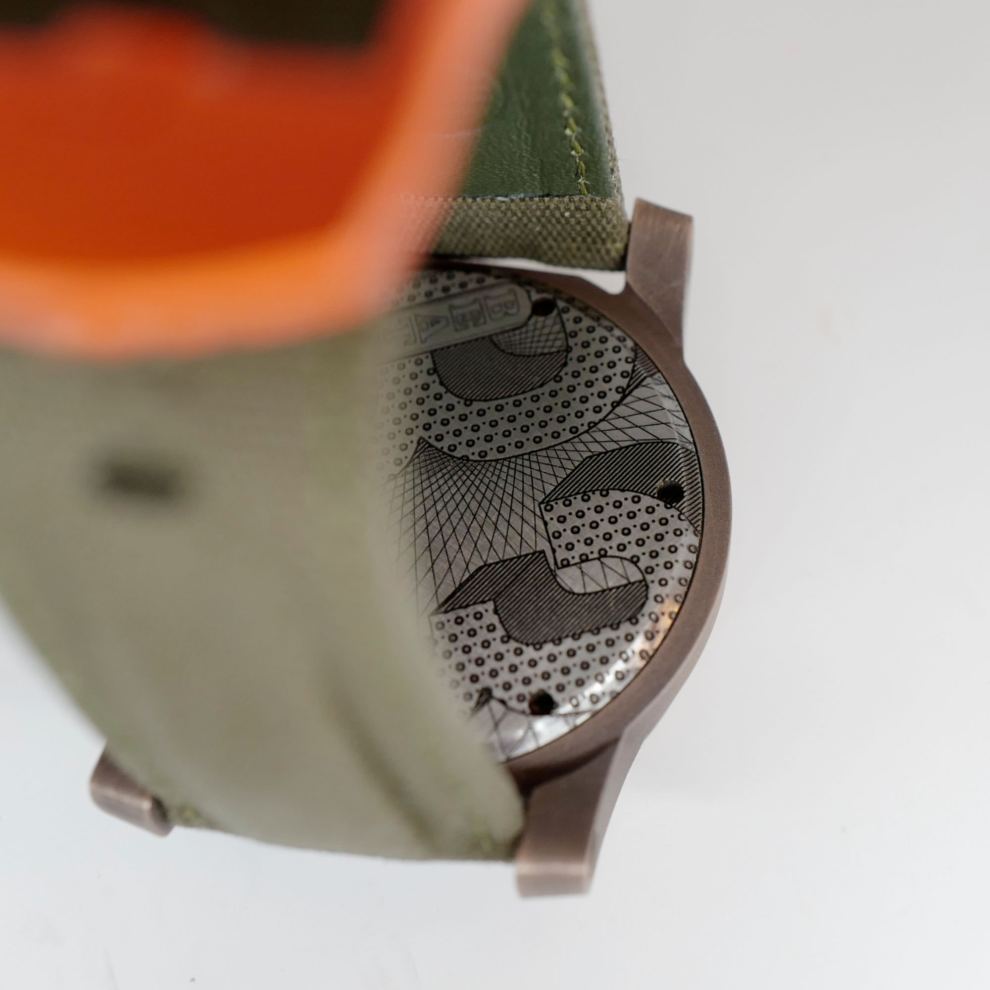 Beater bronze watch case back B3
