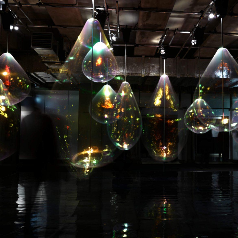 Glass lights in underground room