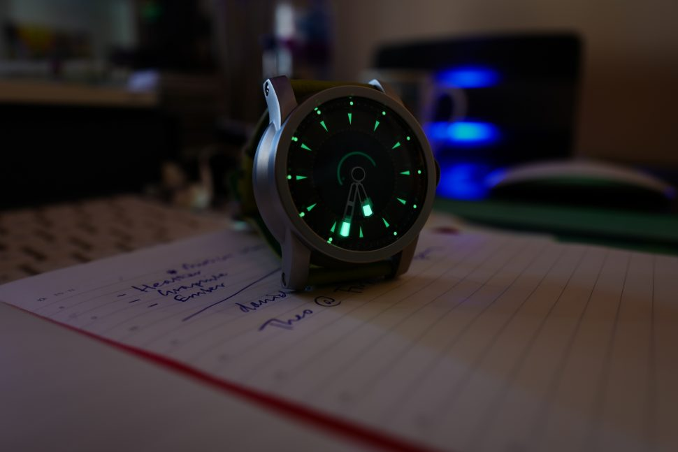 The Daymark automatic watch in the dark