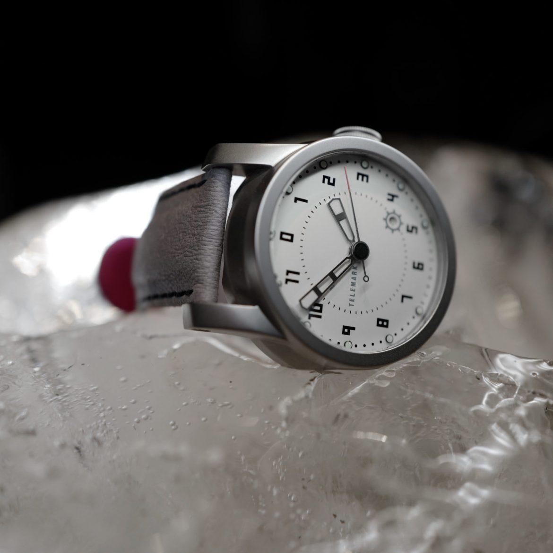 Telemark, white watch, on block of ice