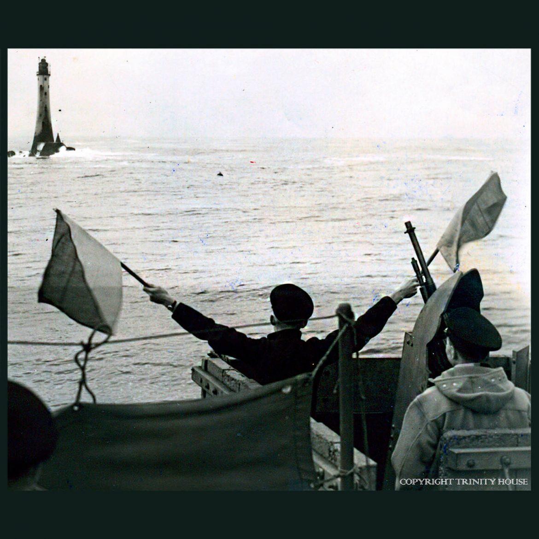 Semaphore flags at sea
