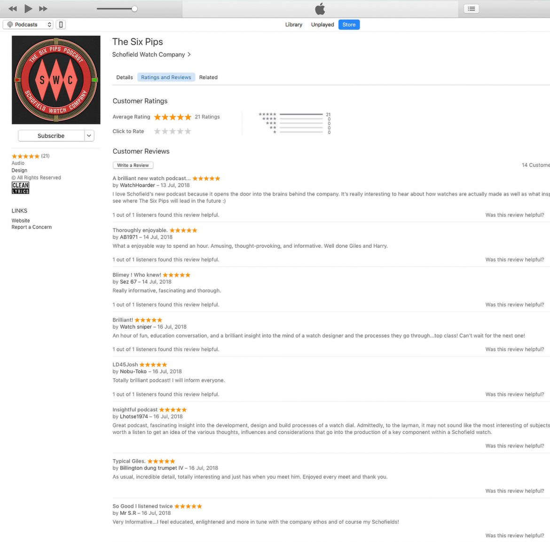 iTunes Six Pips Podcast Screenshot