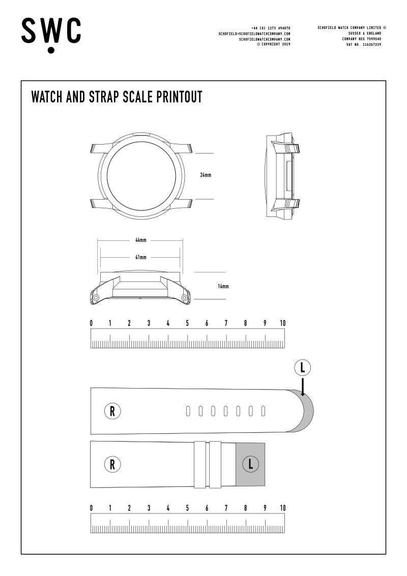Schofield watch and strap scale printout