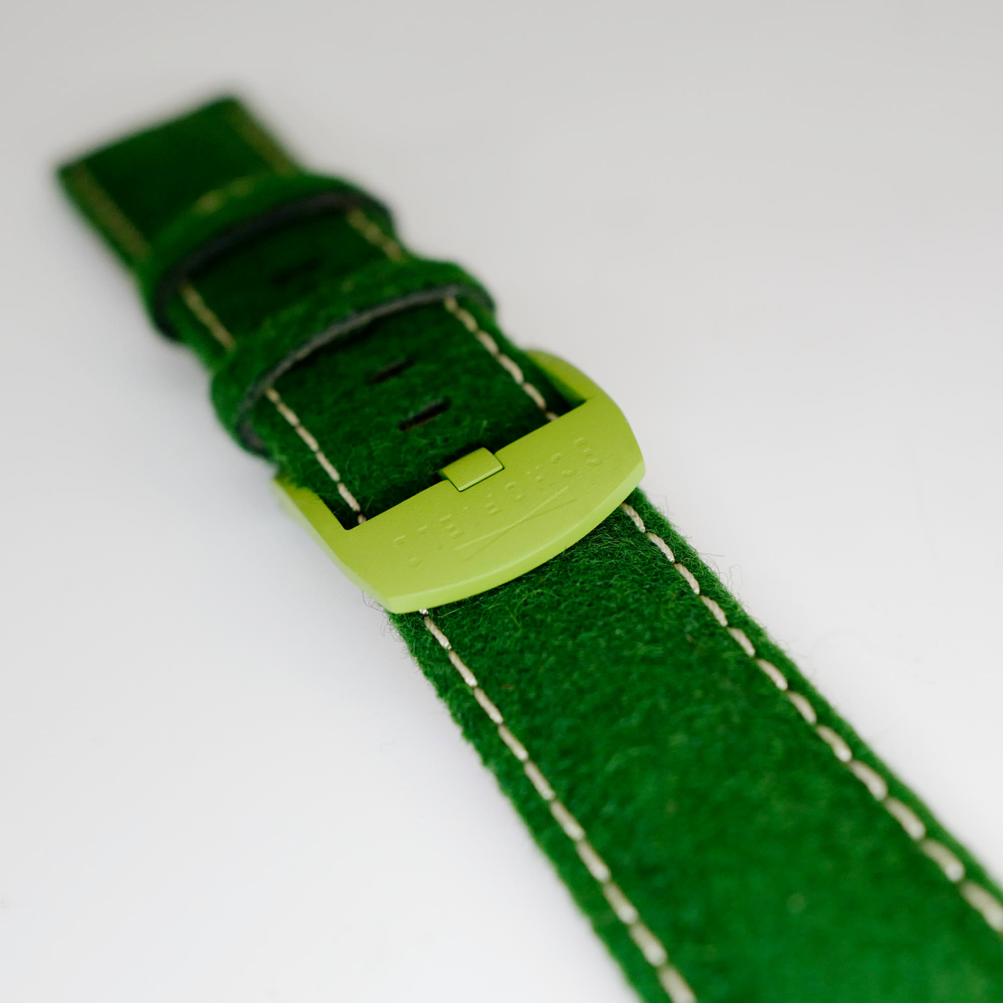 Lurid Green Buckle on Emrald green strap