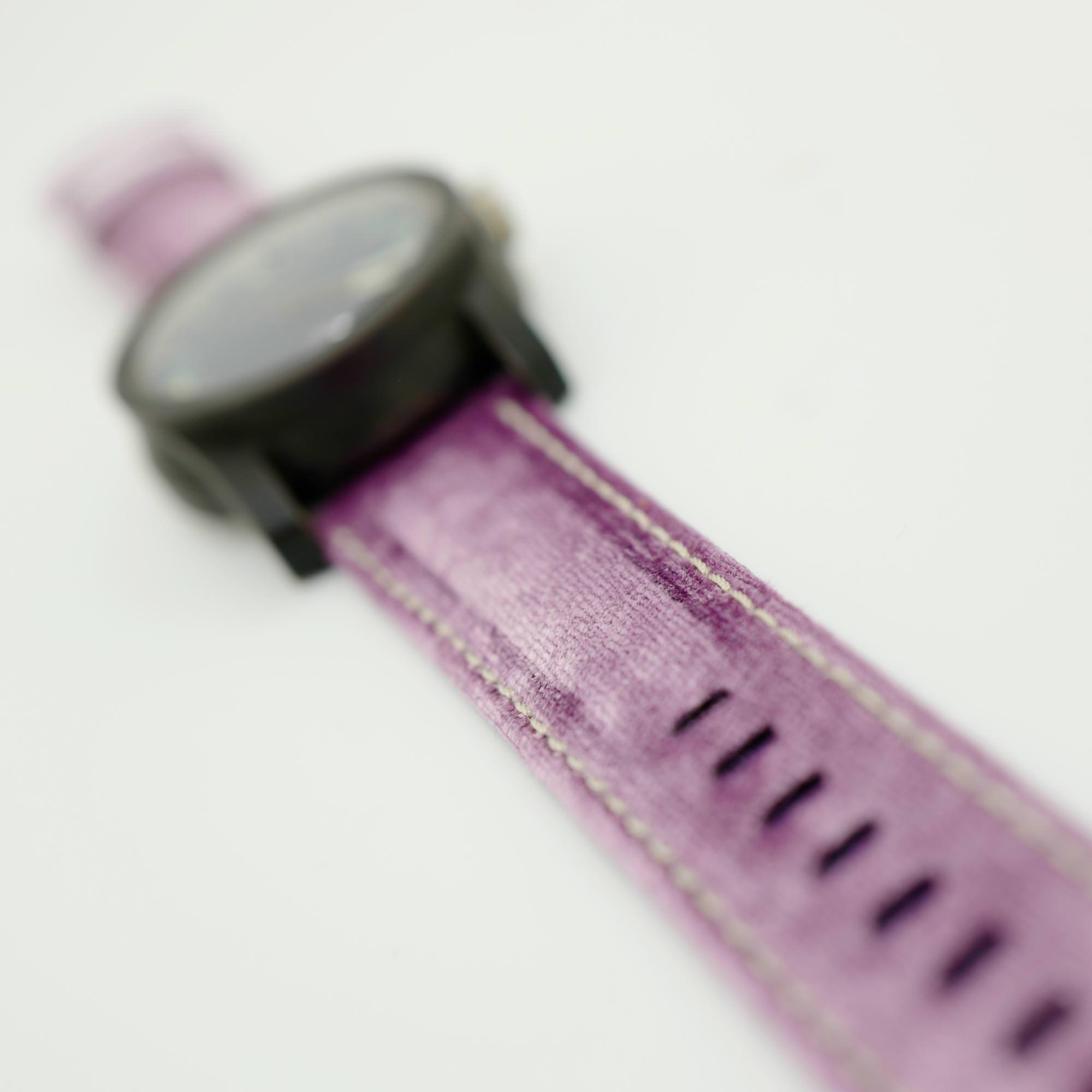 Pink Velvet strap on Patinated Bronze Beater