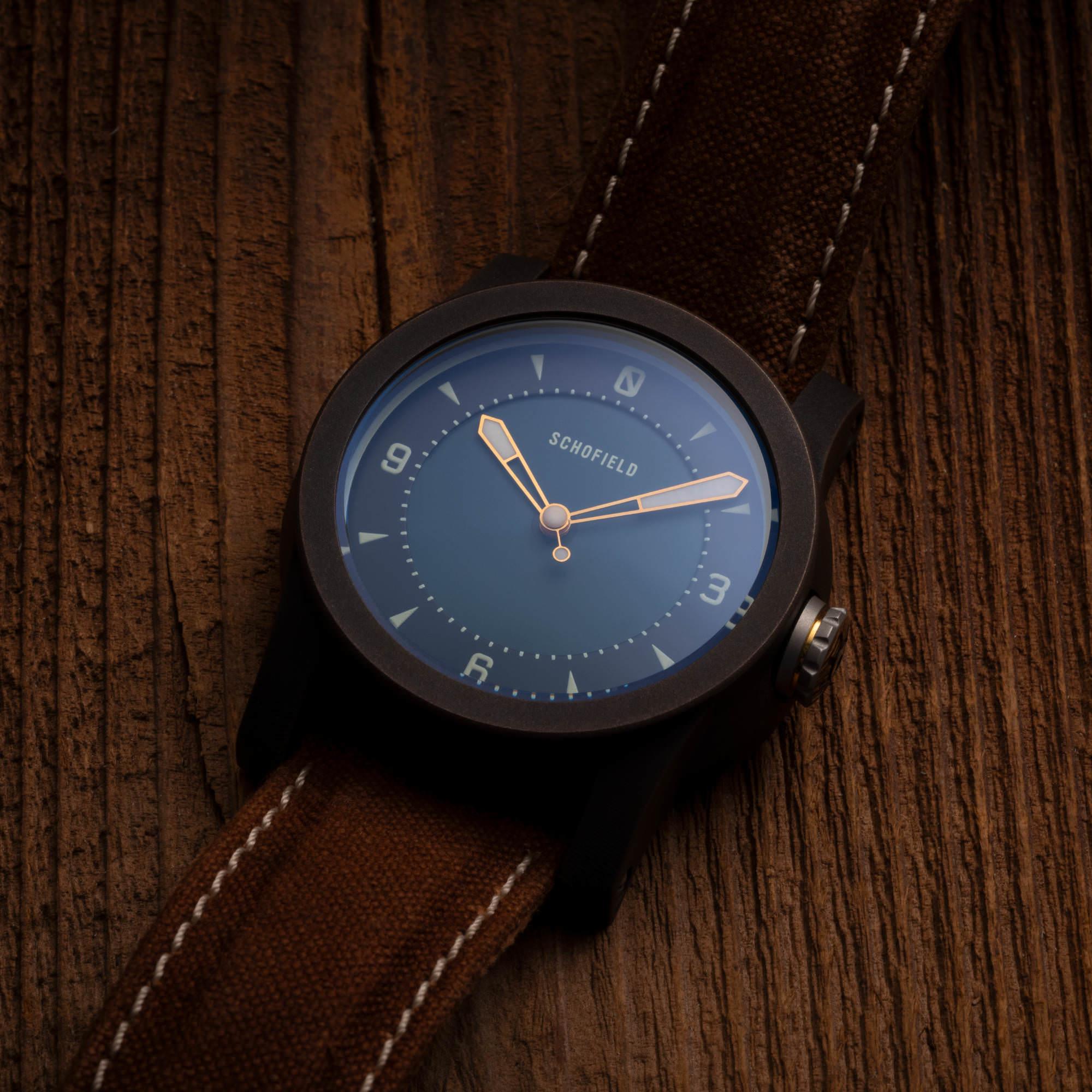 Bronze watch Japanese indigo dial